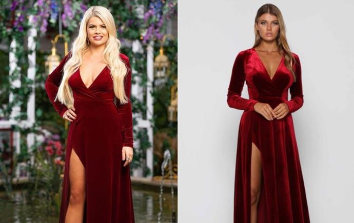 "Kaitlyn wears the 'Fontaine' gown, $389.95 by [Elle Zeitoune](https://ellezeitoune.com.au/item/1145-Fontaine-Wine/|target=""_blank""