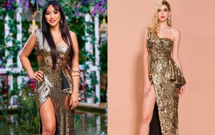 "Juliette wears the 'Empire' gown, $299 by [Micaah](https://www.micaah.com.au/collections/formal-dresses/products/empire-gold-sequins-gown|target=""_blank""