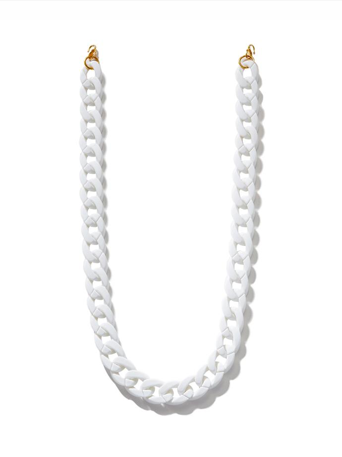 """Detachable 18mm Chunky Chain in White, $54.99 at [Second Wind](https://shopsecondwind.com/collections/chains/products/detachable-18mm-chunky-chain-in-white