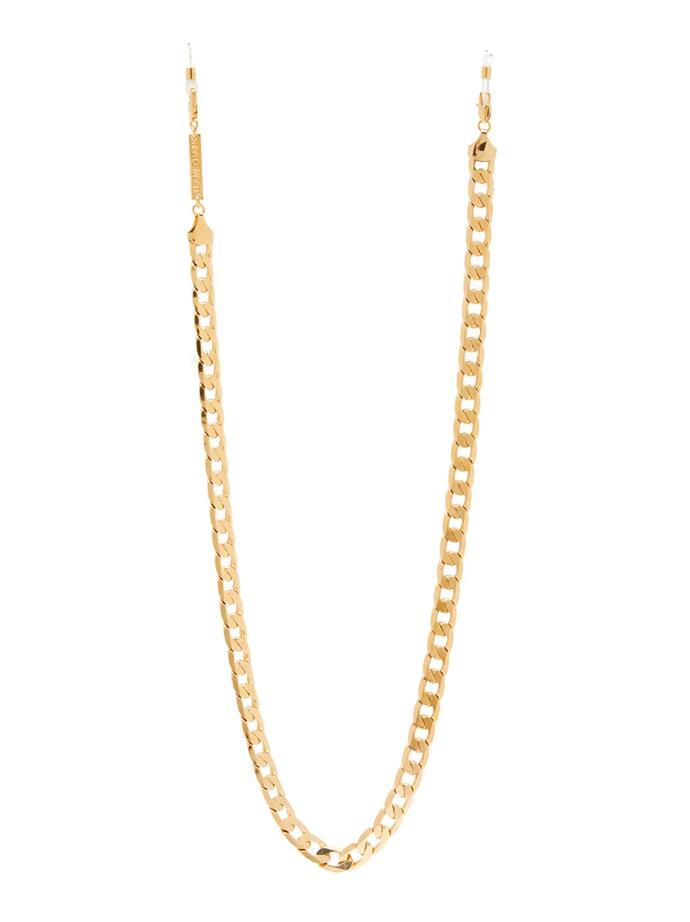 "Eyefash Gold-Plated Glasses Chain by Frame Chain, $135 at [MATCHES](https://www.matchesfashion.com/au/products/1224617?country=AUS&rffrid=sem.Google.n=g.cid=919463170.aid=47697083484.k=.mty=.d=c.adp=.cr=218761636555.tid=aud-429262818371:pla-294680686006.pid=1224617000001.ppid=294680686006.lpm=9071830.adty=pla.prl=en&utm_content=1224617000001&utm_term=294680686006.[value].&gclid=CjwKCAjw74b7BRA_EiwAF8yHFCrJLo_7wBhlNo0N2AWr5uYiTmuARDzxk1MlbeOiFt8zQEvBNfxHKhoCXOcQAvD_BwE&gclsrc=aw.ds|target=""_blank""|rel=""nofollow"")."