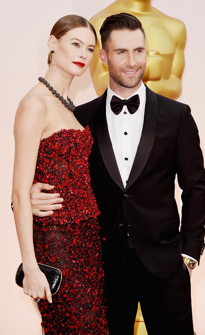 **Adam Levine and Behati Prinsloo** <br> <br> Levine called time on his relationship with Victoria's Secret model Behati Prinsloo in 2013 after a year of dating. He then moved onto fellow VS model, Nina Agdal. Soon after, he realised Prinsloo was the woman for him, so ended things with Agdal allegedly via text, and went back to Prinsloo. They tied the knot in 2014 and now have two daughters, Dusty Rose and Gio Grace.