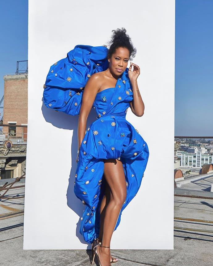 *If Beal Street Could Talk* star Regina King is a vision in a blue Schiaparelli gown.