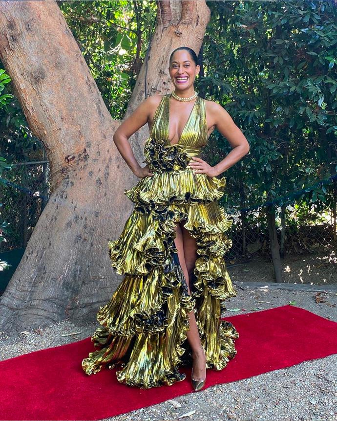 Tracee Ellis Ross in gold Alexandre Vauthier gown and vintage Tiffany & Co. jewellery.