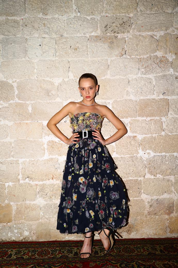 *Unorthodox* actress Shira Haas wearing navy blue, embroidered gown by Chanel.