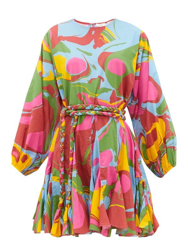 "'[Ella Marbled-Print Cotton Mini Dress](https://www.matchesfashion.com/au/products/RHODE-Ella-marbled-print-cotton-mini-dress-1322600|target=""_blank""|rel=""nofollow"")' by Rhode, $251 at [MATCHES](https://www.matchesfashion.com/au/womens|target=""_blank""|rel=""nofollow"")."