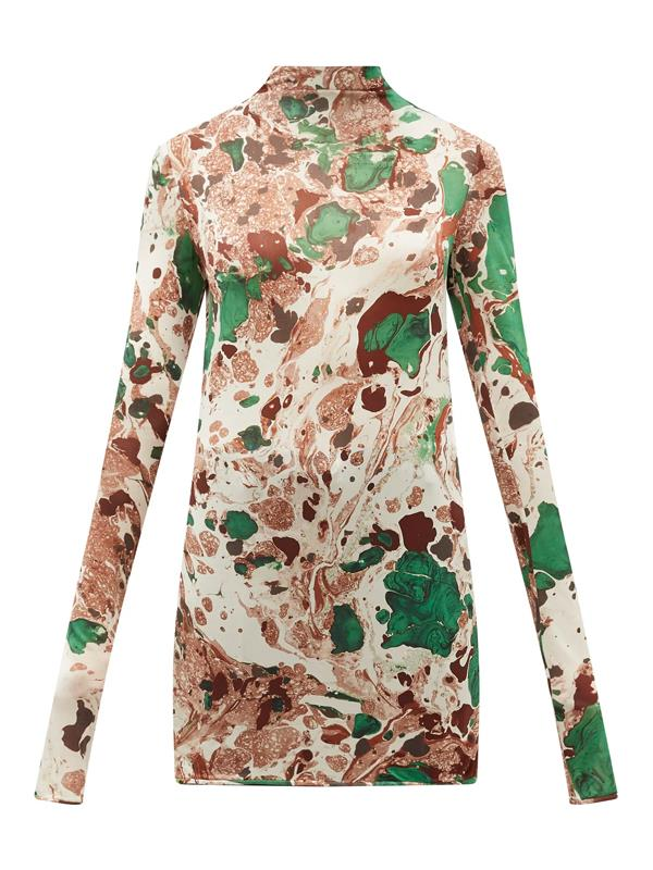 "'[Marble-Print Silk-Jersey Top](https://www.matchesfashion.com/au/products/Jil-Sander-Marble-print-silk-jersey-top-1344632|target=""_blank""|rel=""nofollow"")' by Jil Sander, $766 at [MATCHES](https://www.matchesfashion.com/au/womens|target=""_blank""|rel=""nofollow"")."