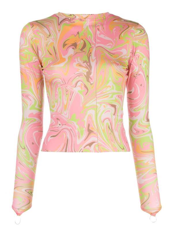 "'[Body Shop Marble Print Top](https://www.farfetch.com/au/shopping/women/maisie-wilen-body-shop-marble-print-top-item-15455747.aspx?storeid=9352|target=""_blank""|rel=""nofollow"")' by Maisie Wilen, $774 at [Farfetch](https://www.farfetch.com/au/shopping/women/items.aspx|target=""_blank""|rel=""nofollow"")."