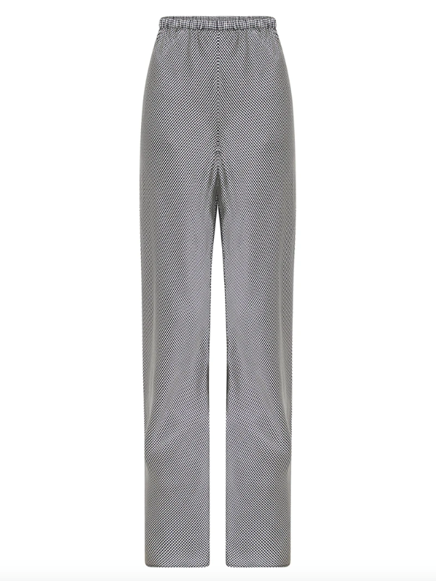 "Bias Cut Silk Pant, $375 by [Silk Laundry](https://silklaundry.com.au/collections/shorts-pants/products/bias-cut-pant-houndstooth|target=""_blank""