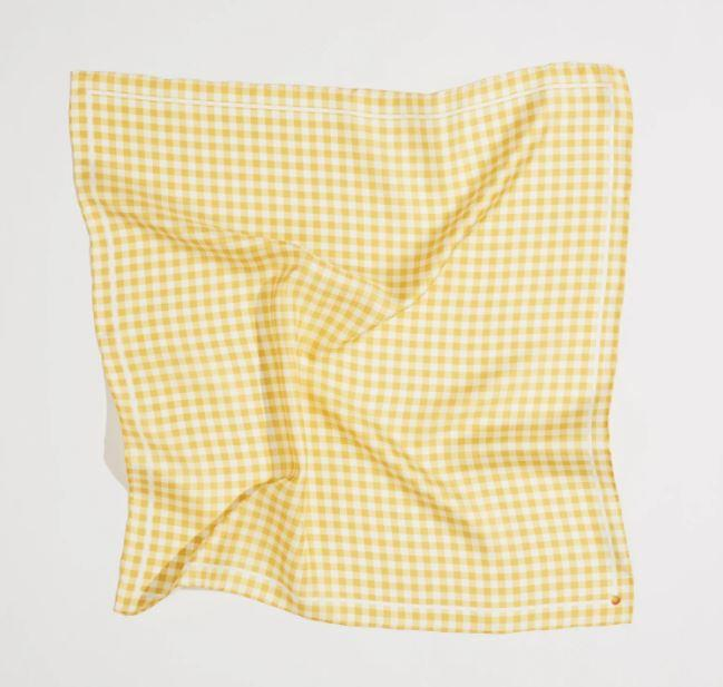 "Be Square Silk Scarf, $50 by [Frankie Peach](https://frankiepeach.com/collections/classic-square/products/be-square-yellow-silk-scarf|target=""_blank""