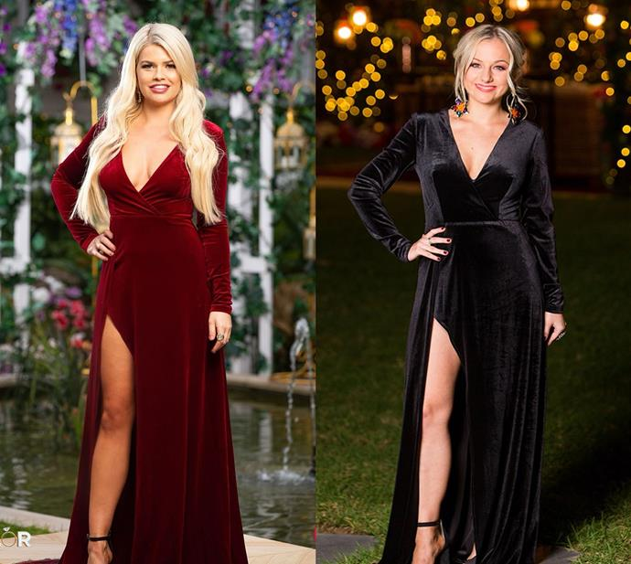 Kaitlyn wears the 'Fontaine' gown in wine, also worn by Christina in 2018's season.