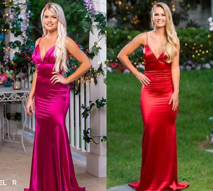 Kaitlyn wears the 'Belle' dress by Gemeli Power, also worn by Chelsie in 2019's season in red.
