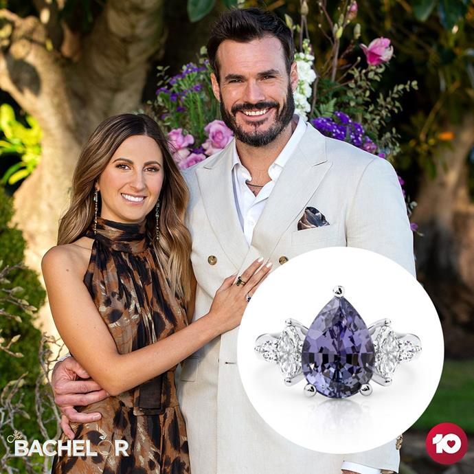 """***Locky Gilbert***<br><br> To be completely honest, [this ring](https://www.larsenjewellery.com.au/engagement-rings/pear-cut/pira-white-gold target=""""_blank"""" rel=""""nofollow"""") is sort of like Locky's season in total. There are some elements of interest (mainly, that 6.14ct purple Tanzanite), but overall, we wouldn't go back for seconds. And although Locky was apparently """"very thoughtful in wanting to design a ring that would be meaningful,"""" our biggest gripe with it is that it doesn't feel at all like Irena. Especially since—as was often said in the *ELLE* office during the season—Irena was consistently [well-dressed](https://www.elle.com.au/fashion/bachelor-australia-2020-same-dress-24059 target=""""_blank"""") and elegant (favouring smart suits over spandex dresses, and olive green Ginger & Smart maxis over tulle minis). The cocktail-style design and purple stone made this feel way more like Bella (who was, you know, wearing a matching purple gown), then reserved and chic Irena.<br><br> **5/10**"""