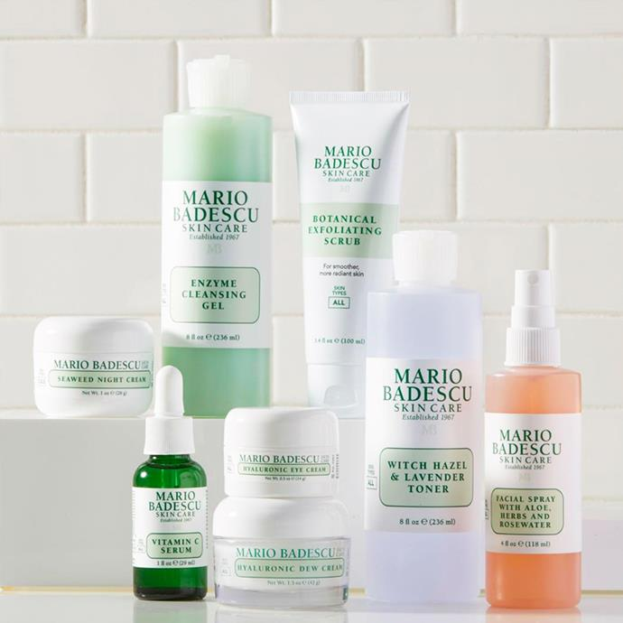"**Mario Badescu** <br><br> Mario Badescu is the brand behind the cult drying lotion celebrities such as Bella Hadid, Kylie Jenner and Lili Reinhart swear by. The brand's products contain the highest quality ingredients and botanicals, and offers various ways to combat problematic skin with products designed to create a flawless complexion.  <br><br> ***Hero product:*** Mario Badescu Drying Lotion, $27, at [Mecca](https://www.mecca.com.au/mario-badescu/drying-lotion/I-004684.html|target=""_blank""