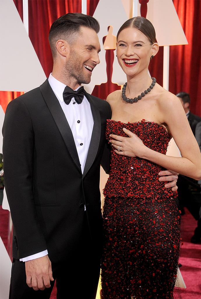 **Adam Levine, 41, and Behait Prinsloo, 31** <br> Age difference: 10 years