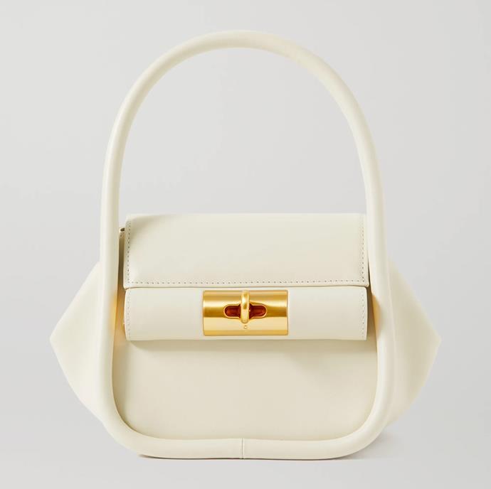 "'Love leather tote' by GU_DE, $806.04 at [NET-A-PORTER](https://www.net-a-porter.com/en-au/shop/product/gu-de/love-leather-tote/1269794|target=""_blank""|rel=""nofollow"")."
