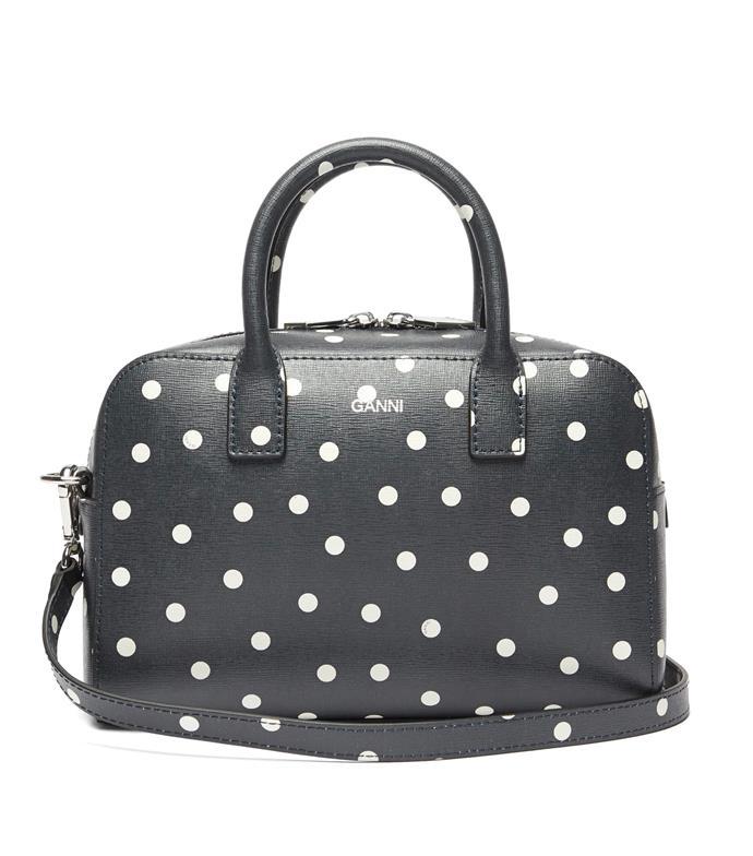 "'Polka-dot leather cross-body bag' by GANNI, $475 at [Matches Fashion](https://www.matchesfashion.com/au/products/Ganni-Polka-dot-leather-cross-body-bag-1354242|target=""_blank""|rel=""nofollow"")."