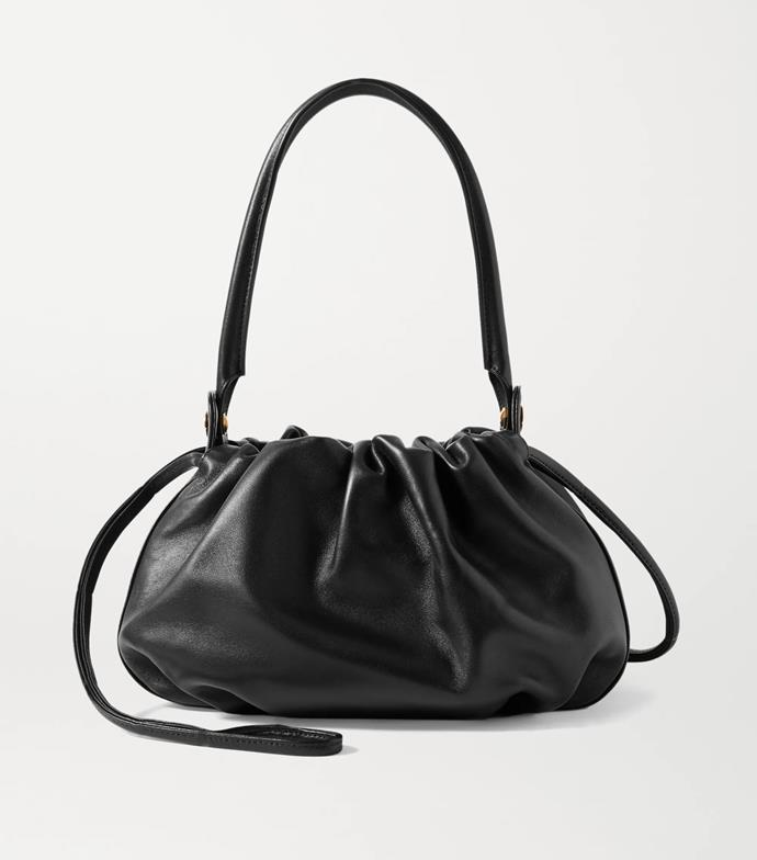 """'Bonnie reversible gathered leather and velvet tote' by GU_DE, $774.24 at [NET-A-PORTER](https://www.net-a-porter.com/en-au/shop/product/gu-de/bonnie-reversible-gathered-leather-and-velvet-tote/1269793