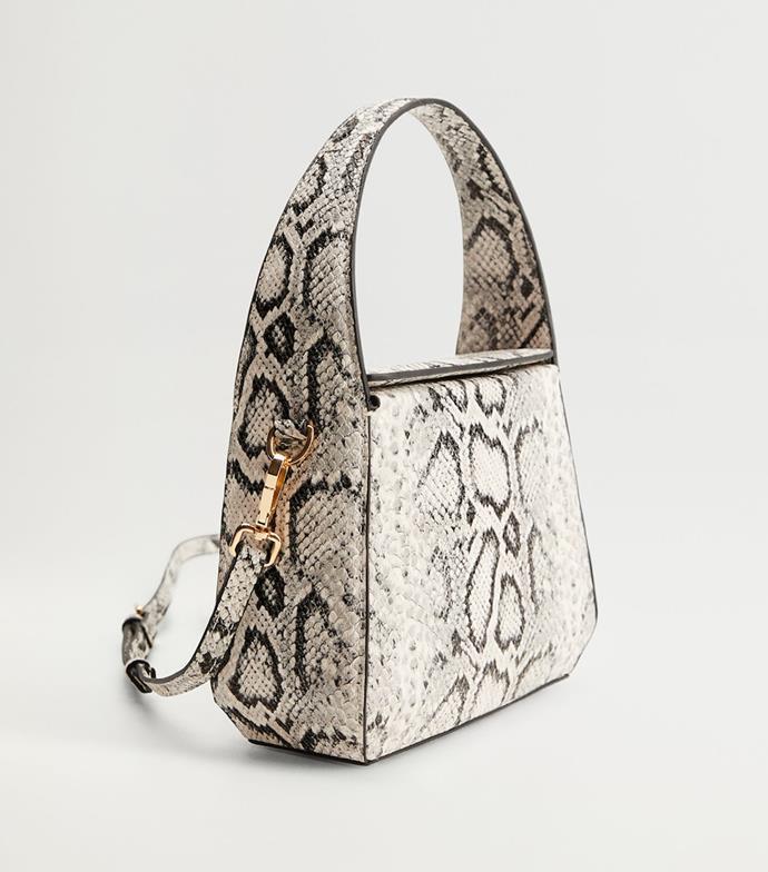 "'Snake print bag', $79.95 at [Mango](https://shop.mango.com/au/women/bags-shoulder-bags/snake-print-bag_77055140.html|target=""_blank""|rel=""nofollow"")."