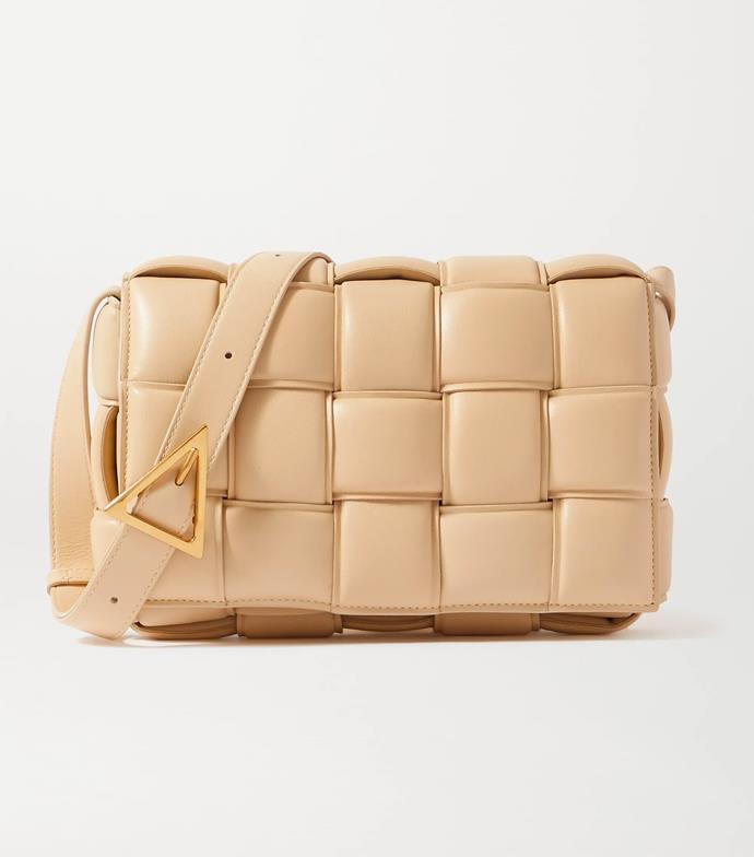 "'Cassette padded intrecciato leather shoulder bag' by Bottega Veneta, $3850 at [NET-A-PORTER](https://www.net-a-porter.com/en-au/shop/product/bottega-veneta/cassette-padded-intrecciato-leather-shoulder-bag/1285966|target=""_blank""|rel=""nofollow"")."