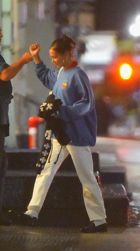 Oversized hoodies have always been a go-to for this streetwear queen, but the pairing sweats and loafers is an interesting one. Can't say we'd replicate but we also can't deny that it can work.