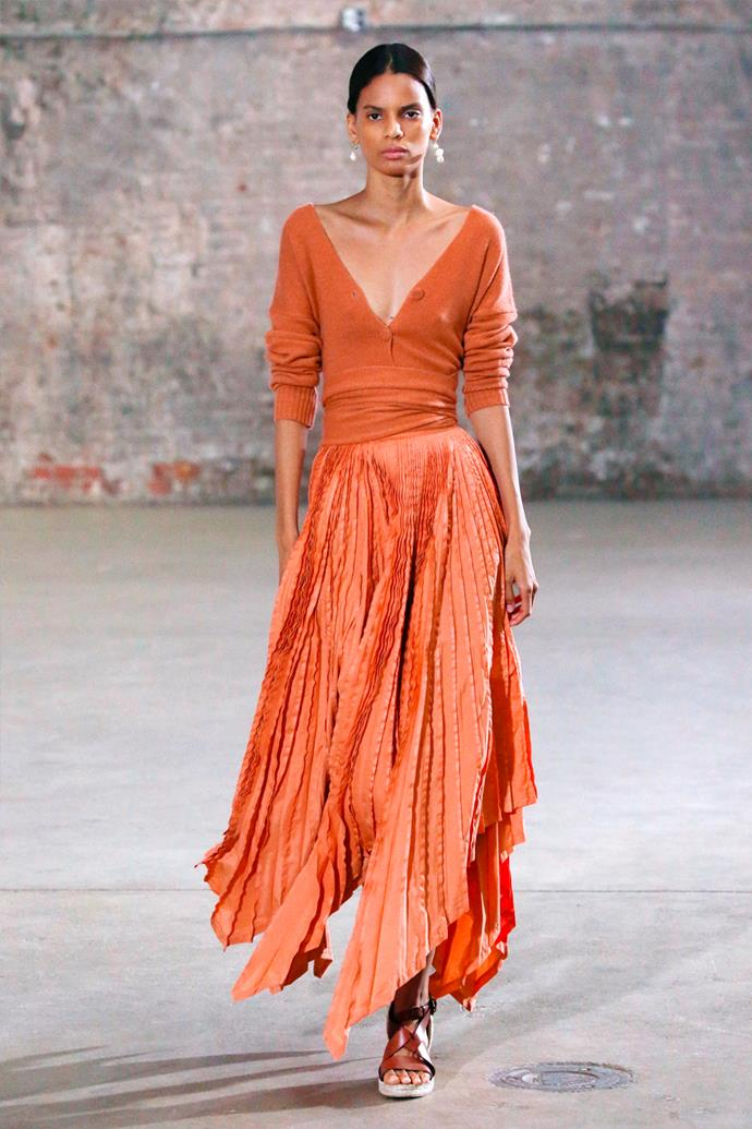 **Altuzarra** <br><br> Inspired by science fiction and real-life, Altuzarra's latest collection felt almost Dune-like and the emotions associated with the pandemic's various stages. Each piece was loose and flowy, but juxtaposed with utilitarian pieces to contrast its knits, soft leathers, and liquid-like silks.