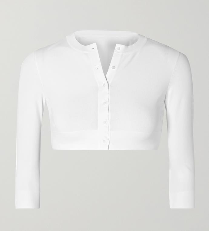 "'Cropped Knitted Cardigan' by Alaïa, $1260 at [NET-A-PORTER](https://www.net-a-porter.com/en-au/shop/product/alaia/cropped-knitted-cardigan/1142708|target=""_blank""|rel=""nofollow"")."