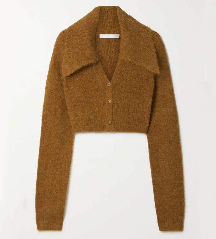 "'Cropped Alpaca-Blend Cardigan' by Helmut Lang, $542.87 at [NET-A-PORTER](https://www.net-a-porter.com/en-au/shop/product/helmut-lang/cropped-alpaca-blend-cardigan/1278736|target=""_blank""|rel=""nofollow"")."