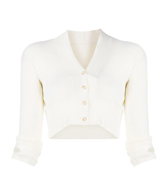 "'Fine-Knit Cardigan' by Jacquemus, $401 at [Farfetch](https://www.farfetch.com/au/shopping/women/jacquemus-fine-knit-cardigan-item-15936205.aspx?storeid=9053|target=""_blank""|rel=""nofollow"")."