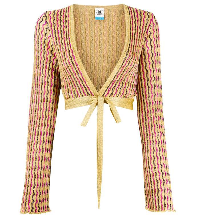 "'Cropped Knit Cardigan' by M Missoni, $960 at [Farfetch](https://www.farfetch.com/au/shopping/women/m-missoni-cropped-knit-cardigan-item-15574055.aspx?storeid=9053|target=""_blank""|rel=""nofollow"")."