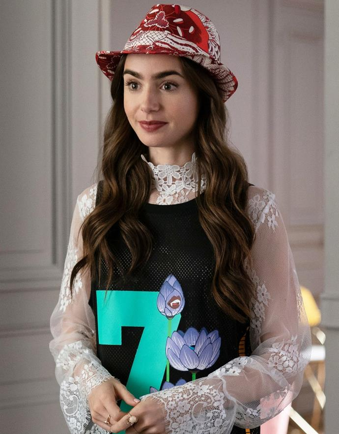 **29. Emily's [Whatever This Is] Moment**<br><br>  Okay, but why does she look about seven-years-old here? We're getting strong raid-the-class-room-dress-up-box vibes with a bit of a 'no hat, no play' thrown in for good measure.<br><br>  *Le mood*: Putting an apostrophe in a hashtag.