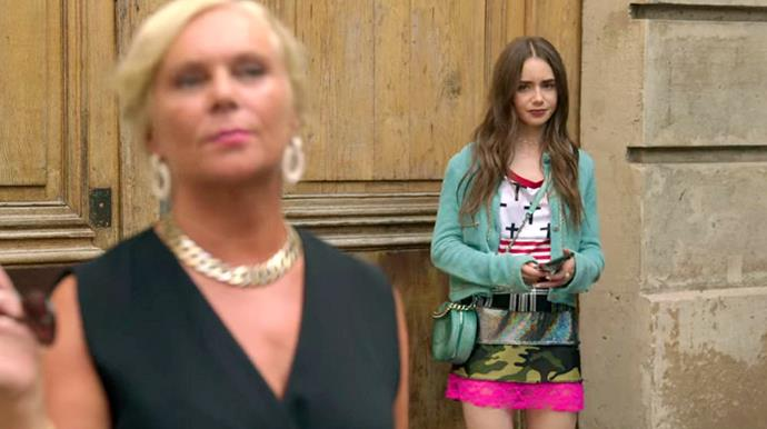 **27. Emily's Patchwork Dress Moment**<br><br>  As much as we adore the Chanel 'Round as Earth' bag and leather chain cardigan included in this ensemble, the patchwork dress is giving us fever dream flashbacks.<br><br>  *Le mood:* Washing your hair in the bidet.