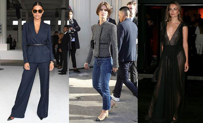 **THE EUROPEAN RICH GIRL** <br><br> **Style icons:** Tina Kunakey, Marine Vacth and Andreea Diaconu. <br><br> **The look:** Non-fussy, slightly masculine and ultra-sexy, the European rich girl works statement vintage pieces like a Chanel jacket or YSL mini in with slouchy tailoring, menswear items and perfectly tousled (but never messy) hair. Think expensive sunglasses, a plunging party dress and statement outerwear.