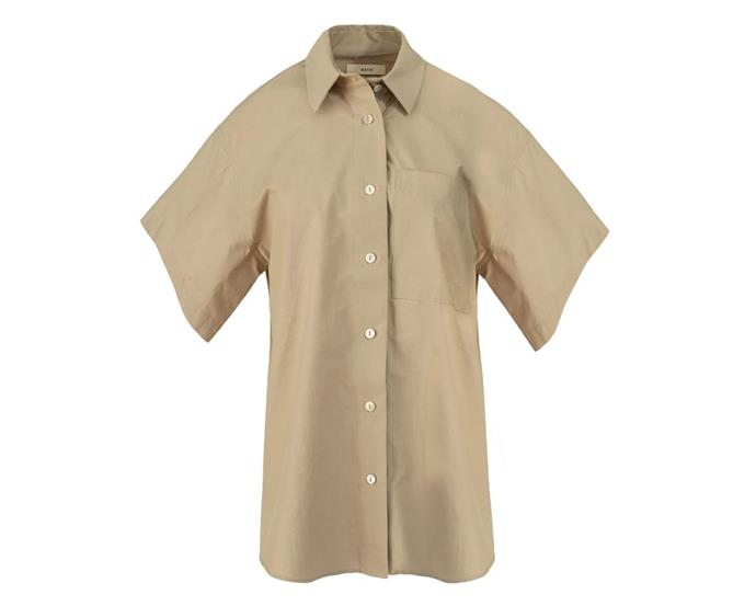 """Drop Shoulder Short Sleeve Shirt by Matin, $320 at [The Undone](https://www.theundone.com/collections/tops/products/drop-shoulder-short-sleeve-shirt-beige