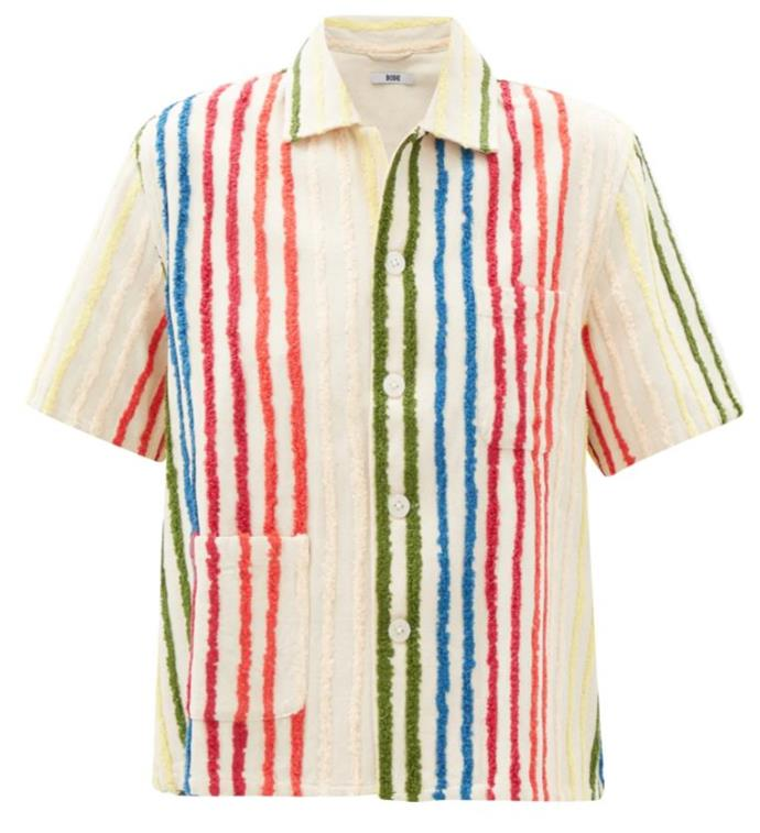 """Chenille-Striped Silk-Blend Shirt, $555 at [MatchesFashion](https://www.matchesfashion.com/au/products/Bode-Chenille-striped-silk-blend-shirt-1337179