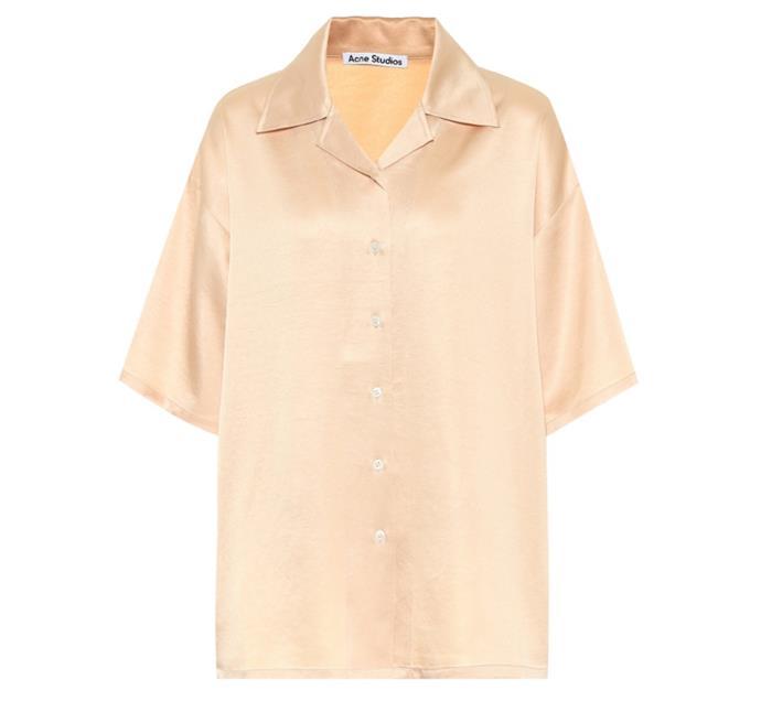 "Satin Shirt by Acne Studios, $540 at [MyTheresa](https://www.mytheresa.com/en-au/acne-studios-satin-shirt-1568485.html?catref=category|target=""_blank""|rel=""nofollow"")."