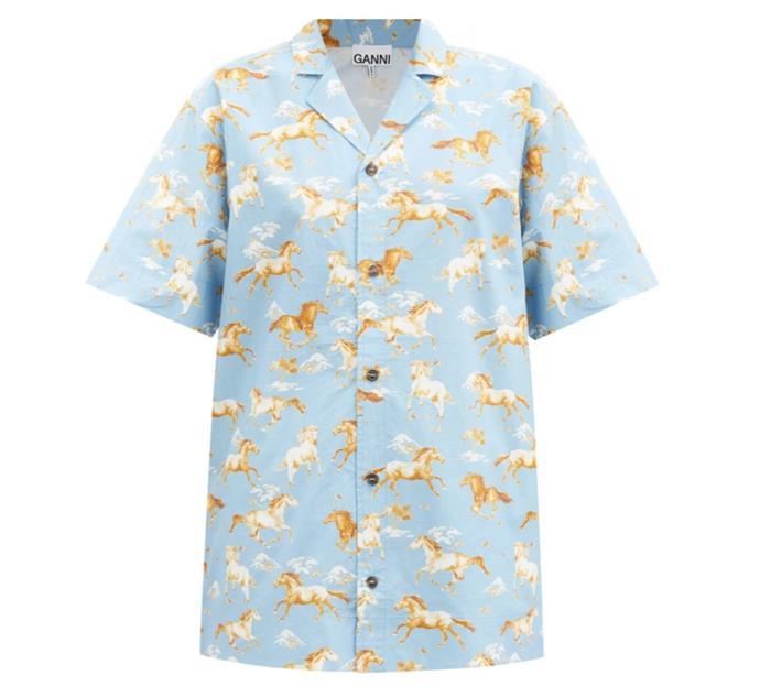 "Horse Print Cotton Shirt by GANNI, $225 at [MatchesFashion](https://www.matchesfashion.com/au/products/Ganni-Horse-print-cotton-shirt-1364125|target=""_blank""|rel=""nofollow"")."