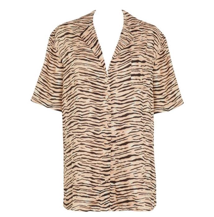 "Charlita Shirt in Wyldie Animal, $179 by [Faithfull The Brand](https://au.faithfullthebrand.com/collections/tops/products/charlita-shirt-dress-wyldie-animal|target=""_blank""|rel=""nofollow"")."