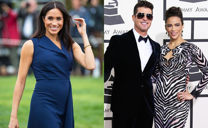**Meghan Markle** <br> *Former celebrity employer:* Robin Thicke and Paula Patton <br><br> Prior to her stint in *Suits*, and even before her own royal wedding, Meghan Markle taught calligraphy, gift wrapping and book-binding at her local Paper Source store in Los Angeles. <br><br> Thanks to her skill in calligraphy, it earned her some freelance work, including writing the invitations for singer Robin Thicke's wedding to now ex-wife Paula Patton in 2005.