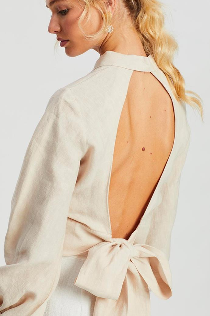 """'Cecile Shirt' by Saroka, $240 at [The Iconic](https://www.theiconic.com.au/cecile-shirt-993139.html
