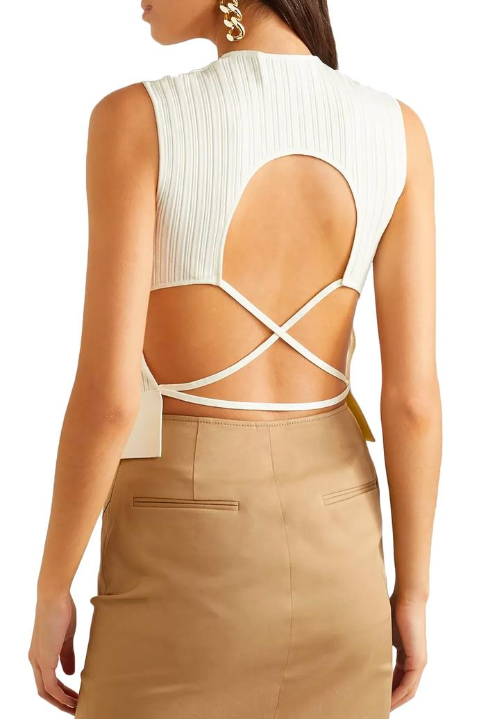 """'Open-back ribbed-knit top' by Esteban Cortazar, $308 at [The Outnet](https://www.theoutnet.com/en-au/shop/product/esteban-cortazar/tops/sleeveless-top/open-back-lace-up-ribbed-knit-top/210639061886