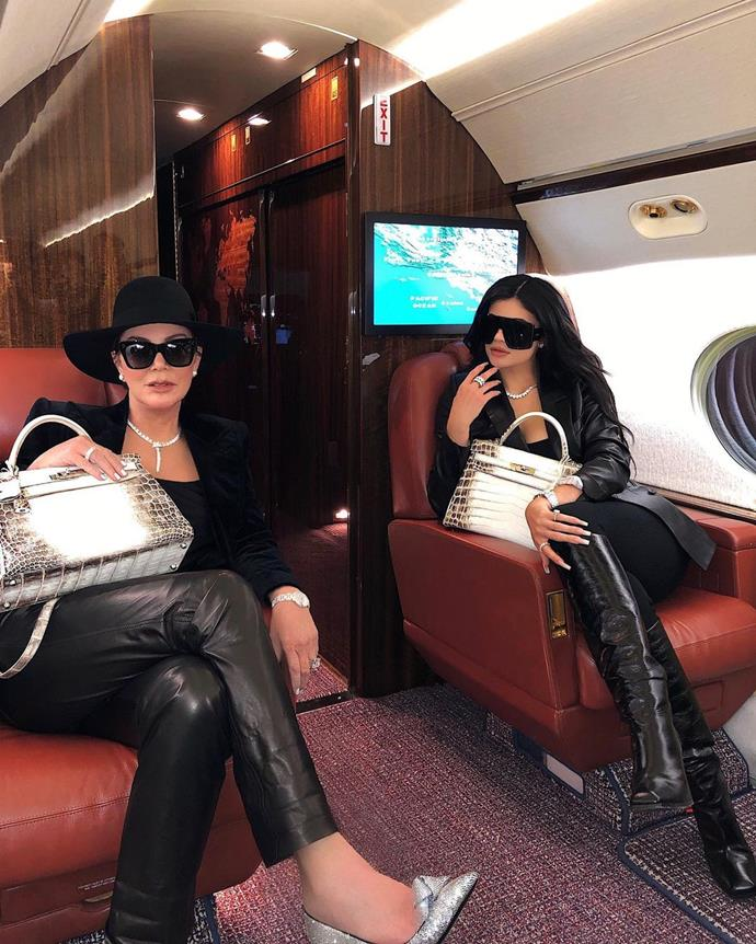 **Kylie Jenner** <br><br> In one of their classic private jet shots, Kylie and Kris posed together with matching Himalayan Birkin bags too.