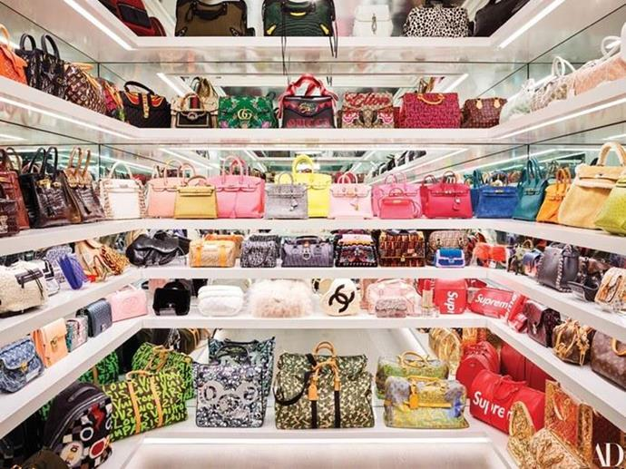 **Kylie Jenner** <br><br> If you didn't know Kylie Jenner is a billionaire, her handbag closet is all the evidence you need. The 21-year-old beauty mogul showed off her closet on her YouTube channel, which features Birkin and Kelly handbags in almost every colour.