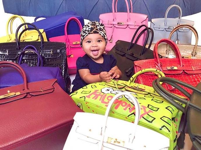 **Khloé Kardashian** <br><br> While Khloé alternates between plenty of different designer handbags, she showed her fans just how many covetable Birkins she owns in an Instagram photo posted back in 2019—which featured her daughter True Thompson surrounded by hundreds of thousands of dollars worth of bags.
