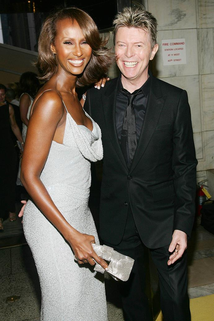 """**Iman and David Bowie**  <br><br> Arguably one of the entertainment industry's most solid relationships, David Bowie and model Iman were together since 1990, and married since 1992. """"I was naming the children the night we met... it was absolutely immediate,"""" Bowie is quoted as saying. Sadly, Bowie tragically passed away in January 2016 as a result of liver cancer."""