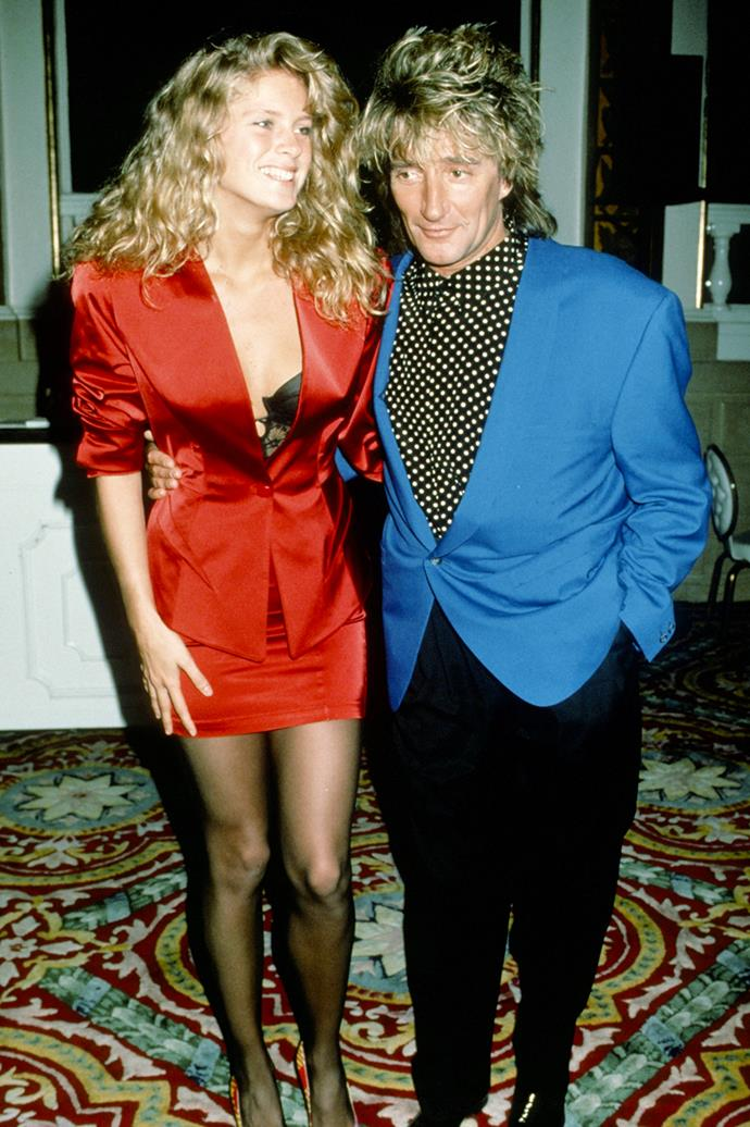 **Rod Stewart and Rachel Hunter**  <br><br> Another major rockstar, Rod Stewart has dated several high-profile faces. One being his '90s perm-partner, Kiwi model Rachel Hunter, who he was married to for 16 years (and separated for seven of those).