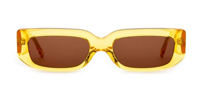 "The Paradise Machine Sunglasses, %479 by [Crap Eyewear](https://www.crapeyewear.com/products/the-paradise-machine-crystal-sunflower-yellow-thin-square-sunglasses|target=""_blank""