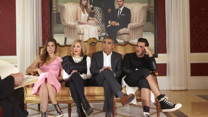 **Gemini:** ***Schitt's Creek***<br><br>  Whip-smart with a kooky sense of humour, Geminis will love binging (or, re-binging) this clean-sweeping Emmy Award winner about a wealthy family who lose all their money and are forced to slum it in a middle-of-nowhere town called—you guessed it—*Schitt's Creek*.