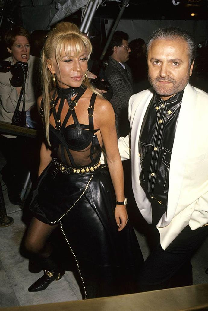 """**Gianni Versace and Donatella Versace** <br><br> Though Gianni Versace frequently dressed the likes of Naomi Campbell and Cindy Crawford, his favourite muse was none other than his younger sister, [Donatella](https://www.elle.com.au/fashion/donatella-versace-gigi-hadid-campaign-statement-2633 target=""""_blank""""). She later commandeered the house of Versace after her brother's murder in 1997, but before that, Donatella often wore her brother's most famous looks on the red carpet, including his signature leather 'bondage' dress (pictured above). <br><br> The two were close for many years before Versace became a worldwide success, and in 2020, Donatella is still open about how strongly she misses her brother."""