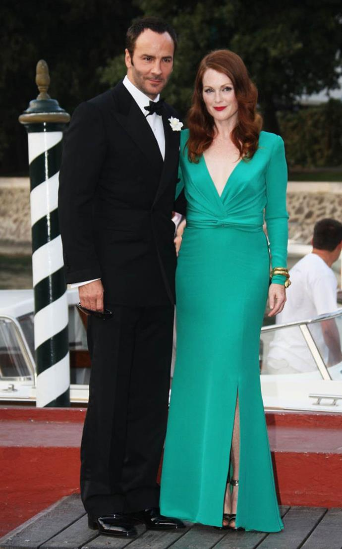 **Tom Ford and Julianne Moore** <br><br> Ford regularly works with an array of A-listers, but his relationship with Julianne Moore is an iconic one. The designer regularly dresses the actress for red carpet appearances, making her one of the most well-dressed actresses in Hollywood. Ford also gave Moore a lead role in his very first film, 2009's *A Single Man*, opposite Colin Firth.