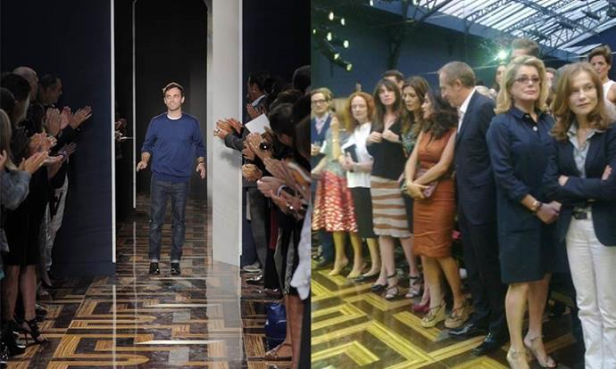 **Balenciaga spring/summer '12 (2011)** <br><br> A set of front row benches collapsed during Nicolas Ghesquière's spring/summer '12 Balenciaga presentation, forcing high-profile attendees like Catherine Deneuve, Salma Hayek, Miranda Kerr, and major magazine editors to stand for the duration of the show. <br><br> Following the show, critics joked that the faulty benches ensured Ghesquière's collection received an unexpected standing ovation. <br><br> *Images: Getty/WWD*
